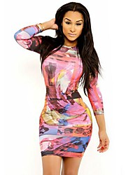 Women's Sexy Seven Sleeve Photography Digital Print Dress