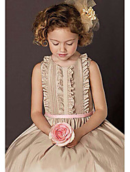 A-line Knee-length Flower Girl Dress Short Sleeve Scoop with Bow(s)