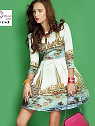 MILANLISA®  The New Europe And The United States To Restore Ancient ways Printed 7 Minutes Of Sleeve Princess Dress