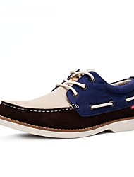 Men's Spring / Summer / Fall / Winter Boat Suede Casual Flat Heel Lace-up Blue / Tan Sneaker