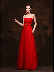 Formal Evening Dress A-line Strapless Floor-length Lace with