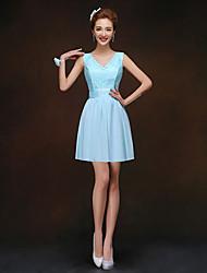 Short/Mini Bridesmaid Dress - Sky Blue Sheath/Column V-neck