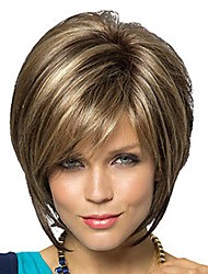 Women's Fashionable Short Dark Brown Blonde Mixed color Wigs with Side Bang Wig
