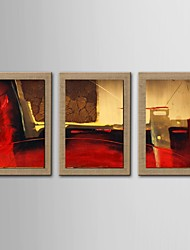 Oil Painting Modern Abstract Set of 3 Hand Painted Natural linen with Stretched Frame