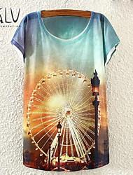 Women's Ferris Wheel Print Small Bat Sleeve T-shirt
