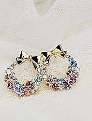 Earring Stud Earrings Jewelry Women Platinum / Alloy / Rhinestone 2pcs Silver