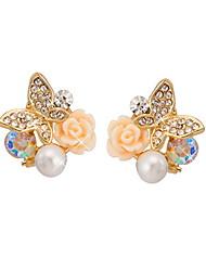 Yue Women's Causual Fashion Butterfly Stud Earrings
