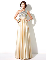 Formal Evening Dress A-line One Shoulder Floor-length with