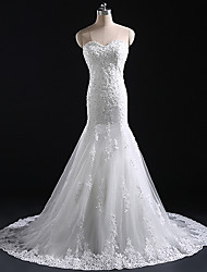 Trumpet/Mermaid Wedding Dress - White & Champagne (color may vary by monitor) Court Train Bateau