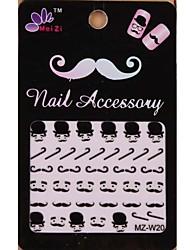 1PCS Cartoon Mustache Style Nail Art Stickers MZ Series MZ-W20