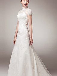 A-line Wedding Dress Court Train High Neck Lace with