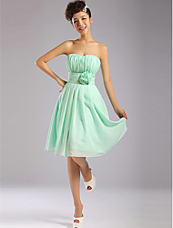 Knee-length Chiffon Bridesmaid Dress - Sage A-line Strapless