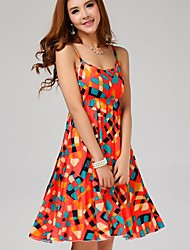 Women's Plus Size A Line Dress,Geometric Strap Maxi Sleeveless Orange Spring / Summer / Fall