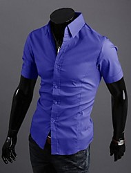 Men's Casual/Work Solid Short Sleeve Shirt