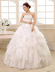 Ball Gown Wedding Dress Floor-length Strapless Organza with Cascading Ruffle / Sequin / Beading