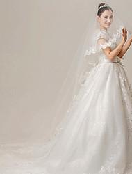 Vestido de Boda - Blanco Corte en A Tribunal - Cuello Alto Encaje