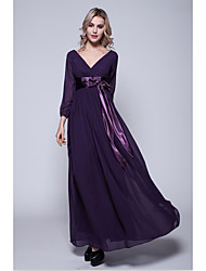 A-line Plus Size / Petite Mother of the Bride Dress Floor-length 3/4 Length Sleeve Chiffon with Sash / Ribbon
