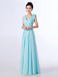 Floor-length Bridesmaid Dress - Sky Blue A-line Straps