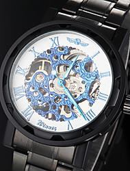 reloj de acero negro esqueleto cara azul de la venda de los hombres manual de mecánica hueco (colores surtidos)