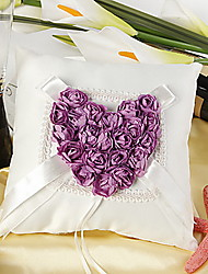 Ring Pillow In Ivory Satin With Purple Rose Heart