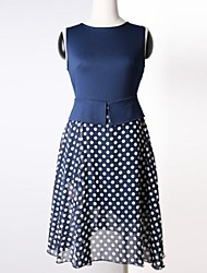 Women's Vintage Round Collar Fake Two Belt Polka Dots Sleeveless Dress