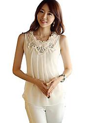 Mujeres Hanyiou ® Flores baja - Slim chaleco de la gasa de la camiseta