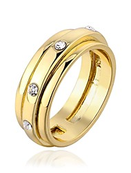 18 K Gold Plated Environmental Round Band Diamond  Ring (More Colors) Promis rings for couplesImitation Diamond Birthstone