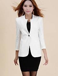 delgado del color sólido prendas de vestir exteriores de las mujeres