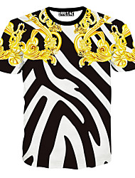 Notch Men Floral Print Causual Fashion Short Sleeve T-shirt