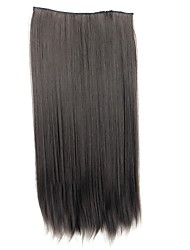 24 Inch 120g Long Synthetic Straight Clip In Hair Extensions with 5 Clips