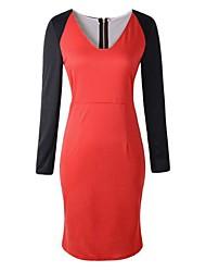 elegantes vestidos de la moda cuello v de las mujeres (más colores)
