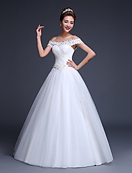 Ball Gown Wedding Dress Floor-length Off-the-shoulder Tulle