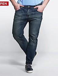 LEEPEN Men's Plus Size Elastic Slim Pencil Ripped Style Jeans.