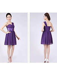 Short/Mini Bridesmaid Dress - Grape A-line / Princess One Shoulder
