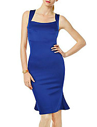 Women's Party/Cocktail Trumpet/Mermaid Dress,Solid Square Neck Knee-length Sleeveless Blue Polyester All Seasons