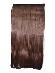 Straight Brown Clip Hairpieces Synthetic Extensions (Dark Brown)
