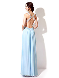 Formal Evening Dress - Beautiful Back A-line Jewel Floor-length with