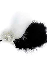 européen fleur d-imitation de perles avec bandeaux de plumes blanches pour les femmes (blanc, noir) (1 pc)