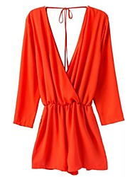 Women's Orange Jumpsuits , Casual Long Sleeve