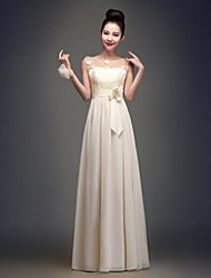 Floor-length Chiffon Bridesmaid Dress - Champagne A-line Jewel