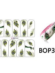 10pcs Pfauenfedern Design Nagelkunstaufkleber bop / 300