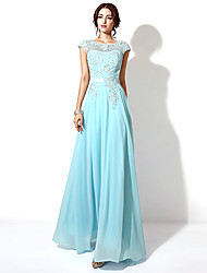 A-line Bateau Floor-length Evening Dress