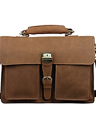 Men's Thick Bull Briefcase  Heavy Duty Messenger Bag  With Leather