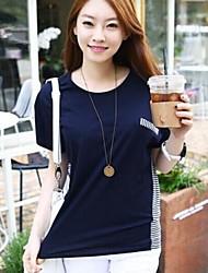 cuello redondo de empalme raya clásica camiseta floja ocasional de las mujeres