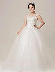 Ball Gown Wedding Dress - White Floor-length High Neck/Sweetheart Velvet