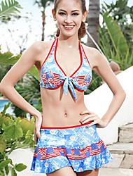 Sanqi Women's New Arrival USA Flag Pattern Push-up Deep V Three Pieces Swim Dress Bikini Swimming Suit