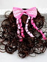 Girl's Double Color Bow Wig Hair Clip(Random Color)
