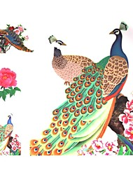 1 Pcs Waterproof Multicolored Flowers and Peacock Pattern Tattoo Stickers