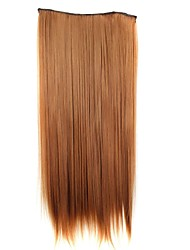 24 Inch 120g Long Synthetic Hair Piece Straight Clip In Hair Extensions with 5 Clips