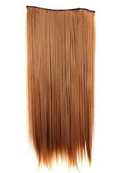 24 polegadas 120g longo pedaço de cabelo sintético clipe reta em extensões do cabelo com 5 clips